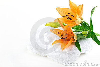 Lily flowers on tawels