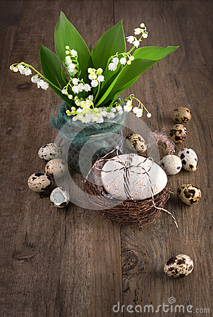 Free Lily Of The Valley And Easter Decorations On Old Wood, Text Spac Stock Photos - 49436273
