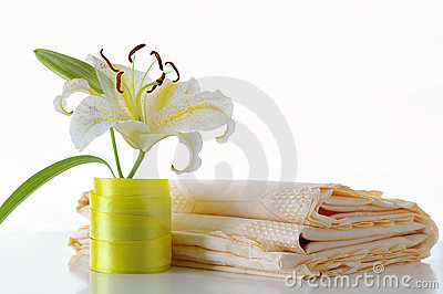 Lily and tablecloth