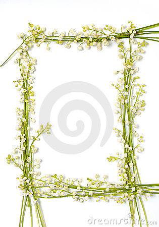 Lily of the valley flowers on paper frame border isolated backgr