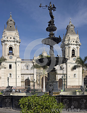 Lima Cathedral - Plaza de Armes - Lima - Peru Editorial Stock Image