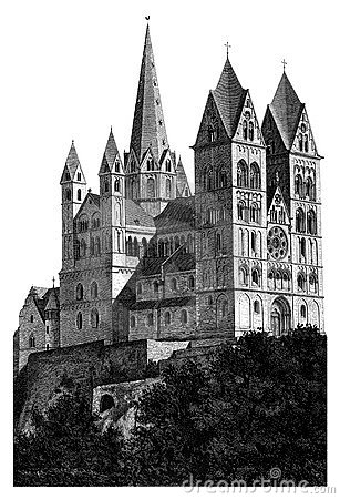 Limburg Cathedral detailed woodblock print Editorial Stock Image