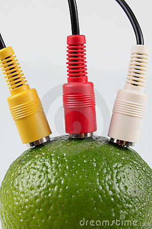 Lime with the connected television wires