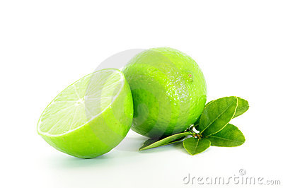 Lime and cut lime with leaves