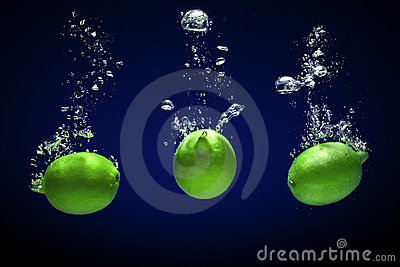 Lime dropped into water