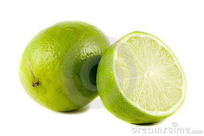 Lime fruits isolated on white