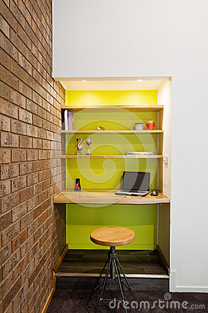 Lime Green Feature Wall Study Nook In Living Room Stock Photo Image 48688051