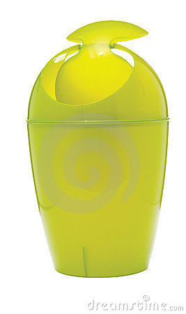 Lime-green garbage can