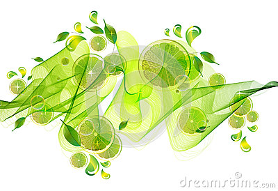 Lime juice splash with abstract wave