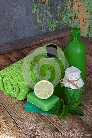 Free Lime Mint Composition Beauty Treatment Products In Green Colors: Shampoo, Soap, Bath Salt, Towel, Oil. Various Bath Accessories. I Stock Images - 105838924