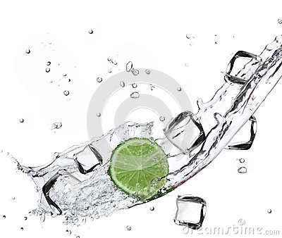 Lime with water splash and ice cubes