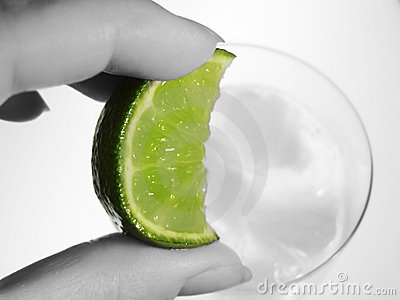 Lime wedge and cool drink