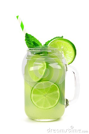 Free Limeade And Mint In A Mason Jar Glass Isolated On White Stock Photos - 117155073