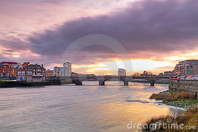 Limerick city scenery at sunset