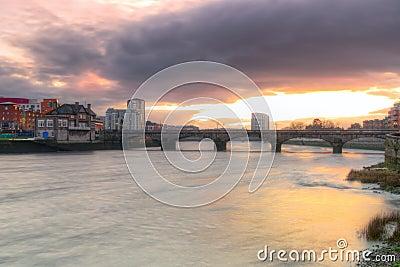 Limerick city scenery at sunset
