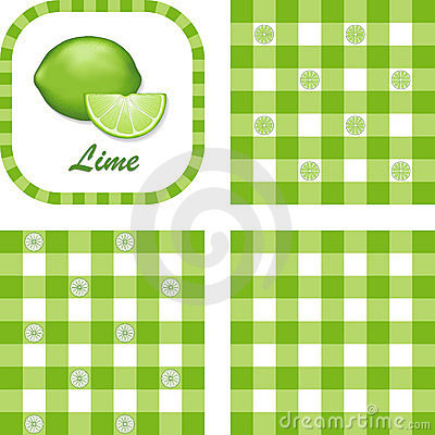 Limes & Gingham Seamless Patterns