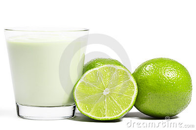 Limes and a half near milkshake