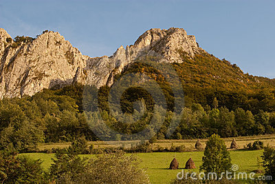 Limestone range with green pastures