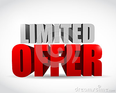 Limited offer text 3d message illustration design