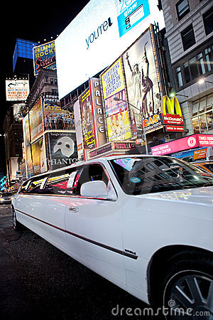 Limousine in Times Square Editorial Stock Image