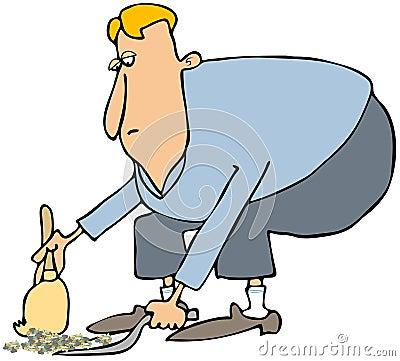 Limpeza do homem com um pá-de-lixo & uma vassoura