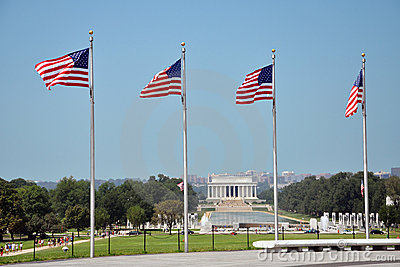 Lincoln Memorial and National Flags
