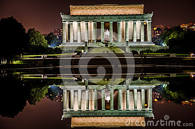 Lincoln Memorial night view with reflecting pool