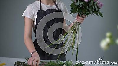 Linda jovem florista vestindo avental fazendo arranjo floral de rosas vídeos de arquivo
