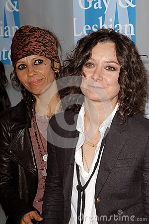 Linda Perry, Sara Gilbert at the L.A.Gay and Lesbian Center  Editorial Photography