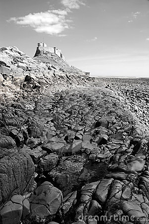 Lindisfarne Castle and beach (black and white) III