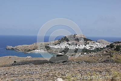 Lindos City on Rhodes island in Greece in summer Stock Photo