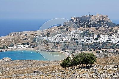 ... del greco antico Athena temple.lindos, isola della Rodi, Grecia