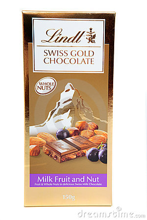 Lindt Swiss Gold Fruit and Nut Chocolate Editorial Stock Image