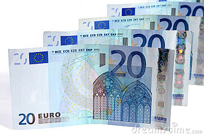 Line of 20 Euros notes.