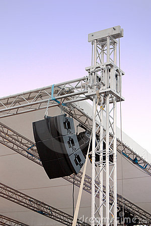 Line array speakers on music stage