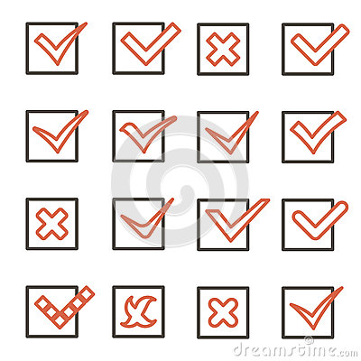Free Line Art Check Marks Symbols Tick And Cross Icons Set Mobile Apps Template Vector Illustration Royalty Free Stock Image - 71804516