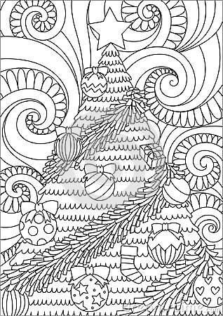 Free Line Art Design Of Storm Scrolling And Christmas Tree For Print Design And Adult Coloring Book Page. Vector Illustration Royalty Free Stock Images - 101237579