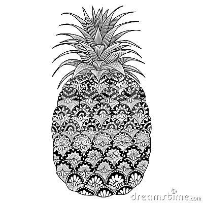 Line Art Design Of Pineapple For