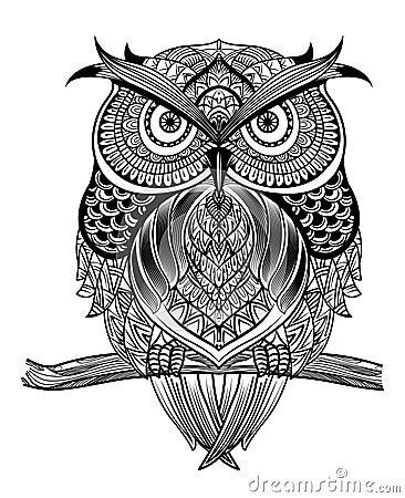 Free Line Art Owl-01 Stock Photography - 66116302