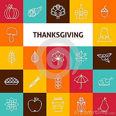 Free Line Art Thanksgiving Day Holiday Icons Set Royalty Free Stock Photos - 59478138