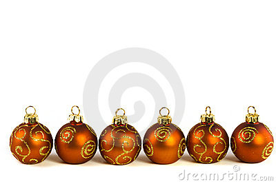Line of Christmas baubles