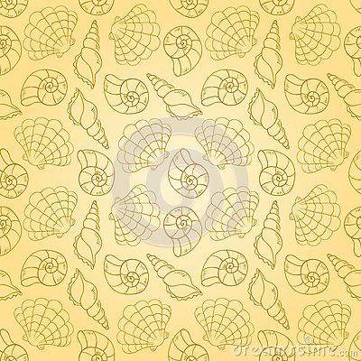 Line cockleshells seamless pattern