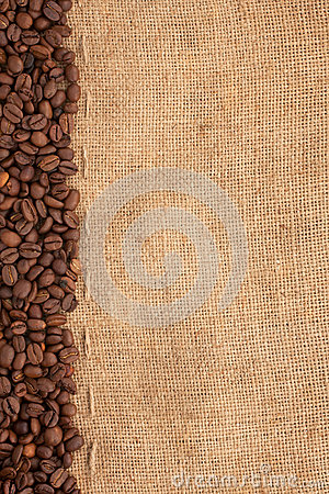 Line of coffee beans and burlap