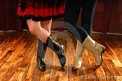 Line Dance Legs in Cowboy Boots