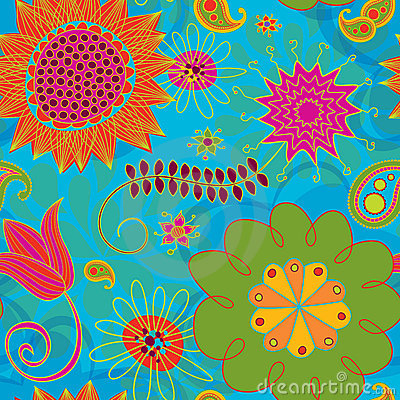 Line Doodles Bright Seamless Background Pattern