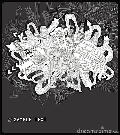 Free Line Drawing Chaotic City - Vector Royalty Free Stock Photography - 8601347