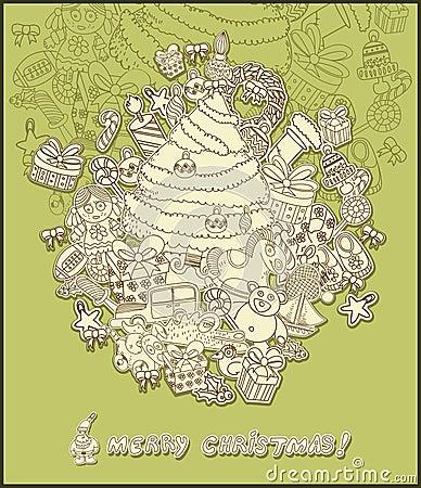 Line drawing christmas theme- green
