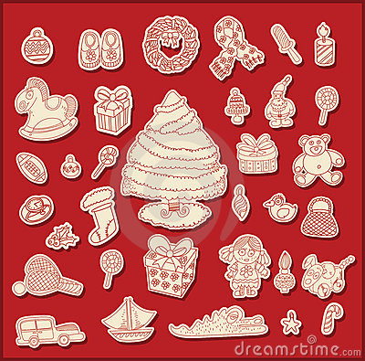 Line drawing christmas theme objects