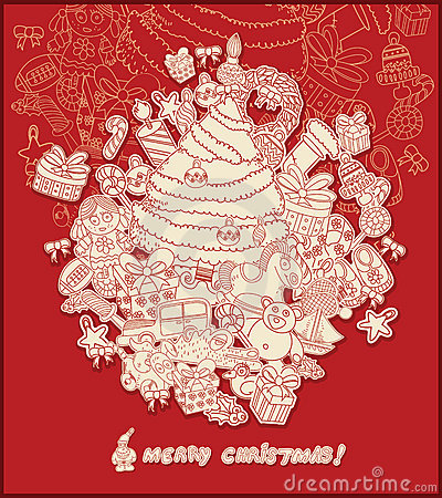 Line drawing christmas theme- red