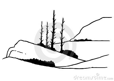 Line drawing of mountain and tree